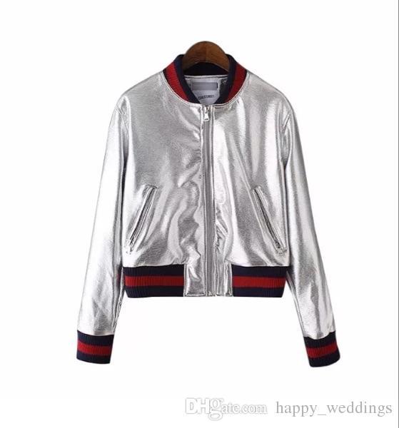 2018 Thin Coat Female Short Bomber Jackets Zipper New Casual Women Jacket Bright surface winter baseball uniform cardigan jackets