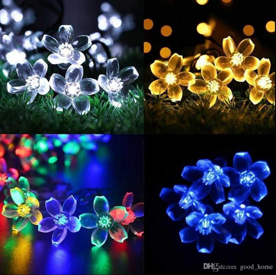 2018 Cherry Blossom Outdoor Solar String Lights 50 Led Solar Powered Sakura  String Night Lights Garden Home Party Decor Ooa3153 From Good_home, ...