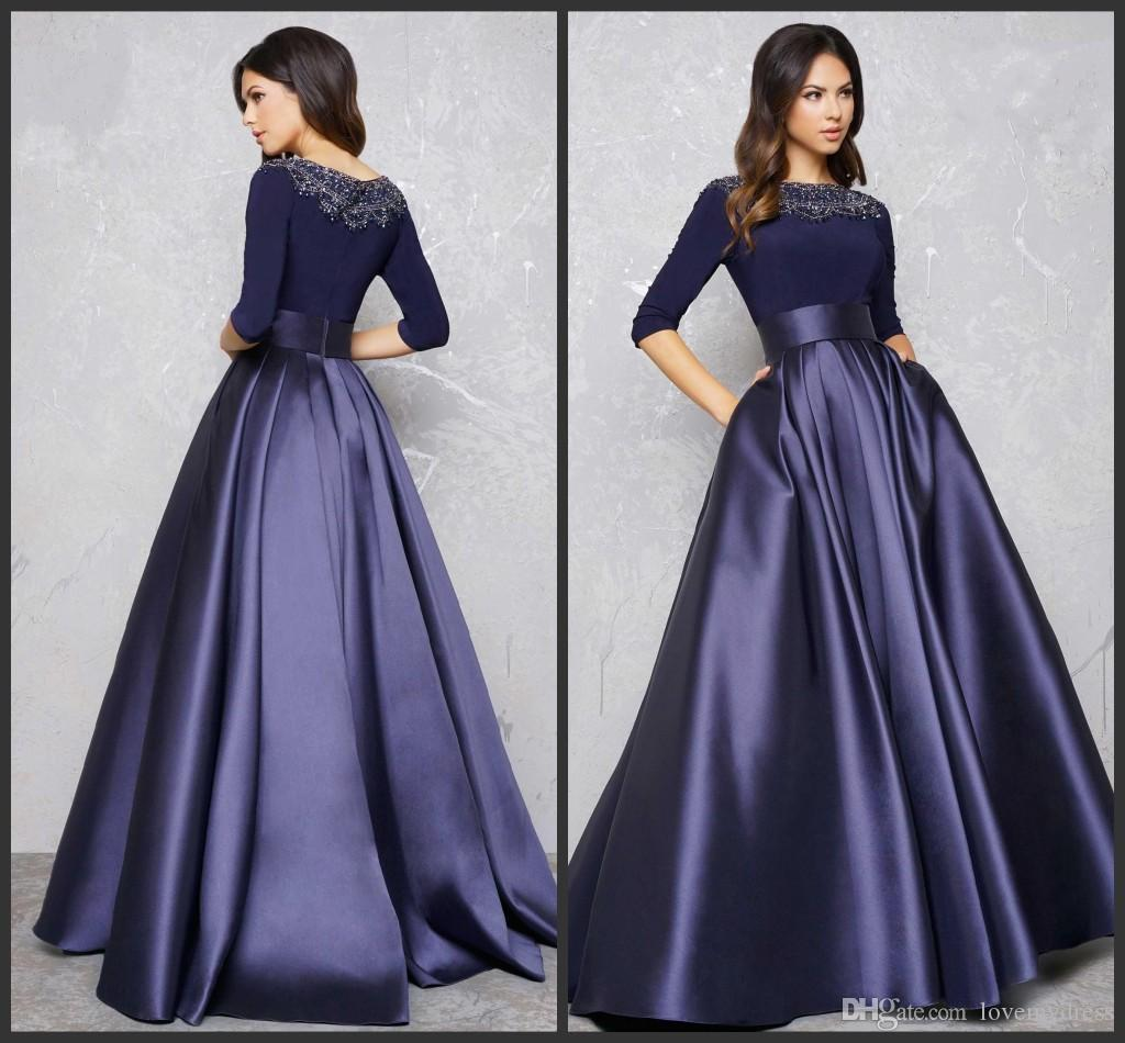 Long Sleeve Evening Gowns Formal Dress A Line Party Dress High ...