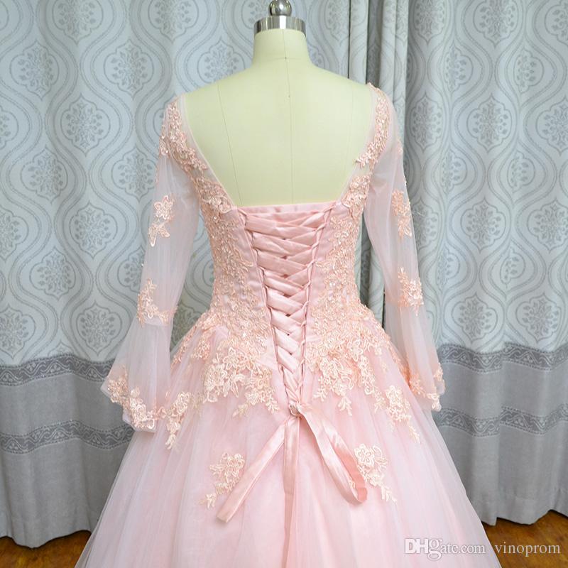 Foto reali Abiti Largos Para Bodas Ball Gown Sweetheart rosa Tulle in rilievo Tulle maniche lunghe Donna sposa abiti da sposa Quinceanera