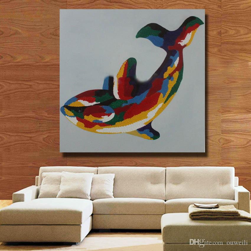 Decorative design animal fish whale oil painting hand painted home goods oil painting large canvas art cheap