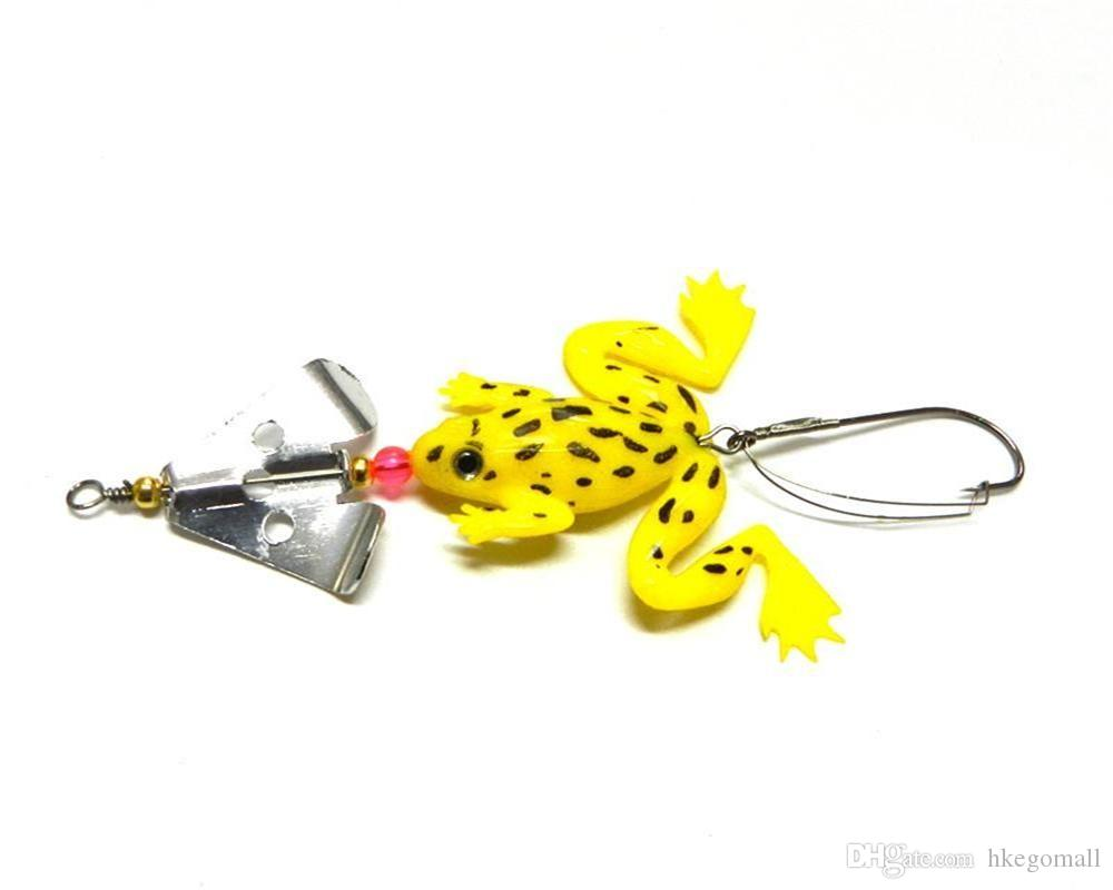 Rubber Frog Lure PVC Soft Fishing Baits 11.5cm 6.2g Spinner Spoon Lures Bass Crank Saltwater Fishing Tackle