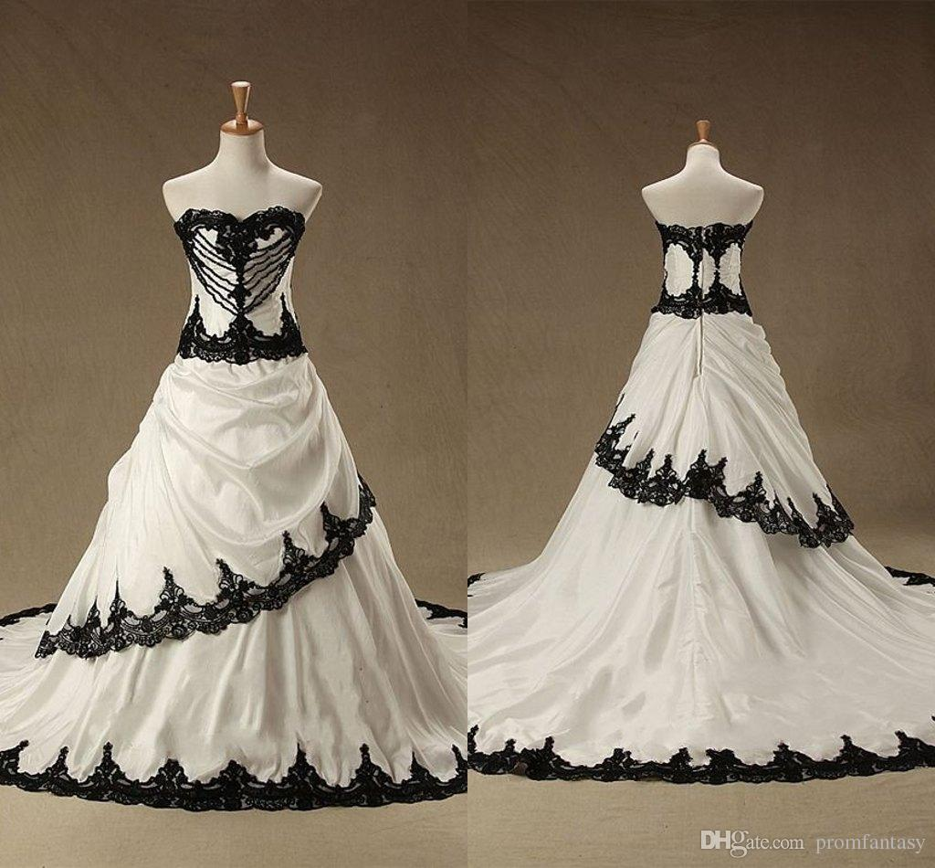Discount vintage white and black wedding dresses for Cheap black and white wedding dresses