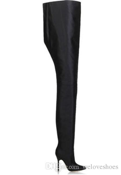 2017 فائقة طويلة النساء الأحذية مثير فوق الركبة المصارع أحذية بوينت تو الجوارب السيدات حزب أحذية المتطرفة طويلة الأحذية
