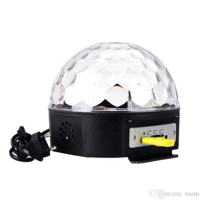 DHL RGB MP3 Magic Crystal Ball LED Música escenario escenario 18 W Discoteca en casa Fiesta de DJ Etapa Luces de iluminación + U Disco lámpara de control remoto