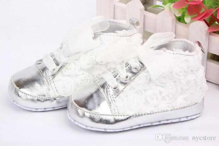 4 cores rosa flor de renda bebê crianças shoes pu couro fundo macio prewalker criança shoes tamanho