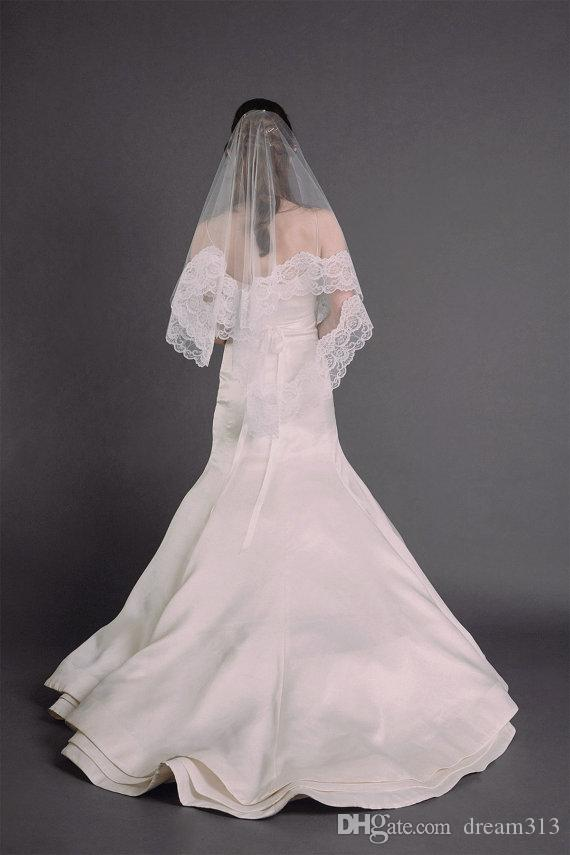 Calda alta qualità migliore vendita romantica veli da sposa punta delle dita velo da sposa senza pettine bei abiti di pizzo bianco avorio Meidingqianna marchio