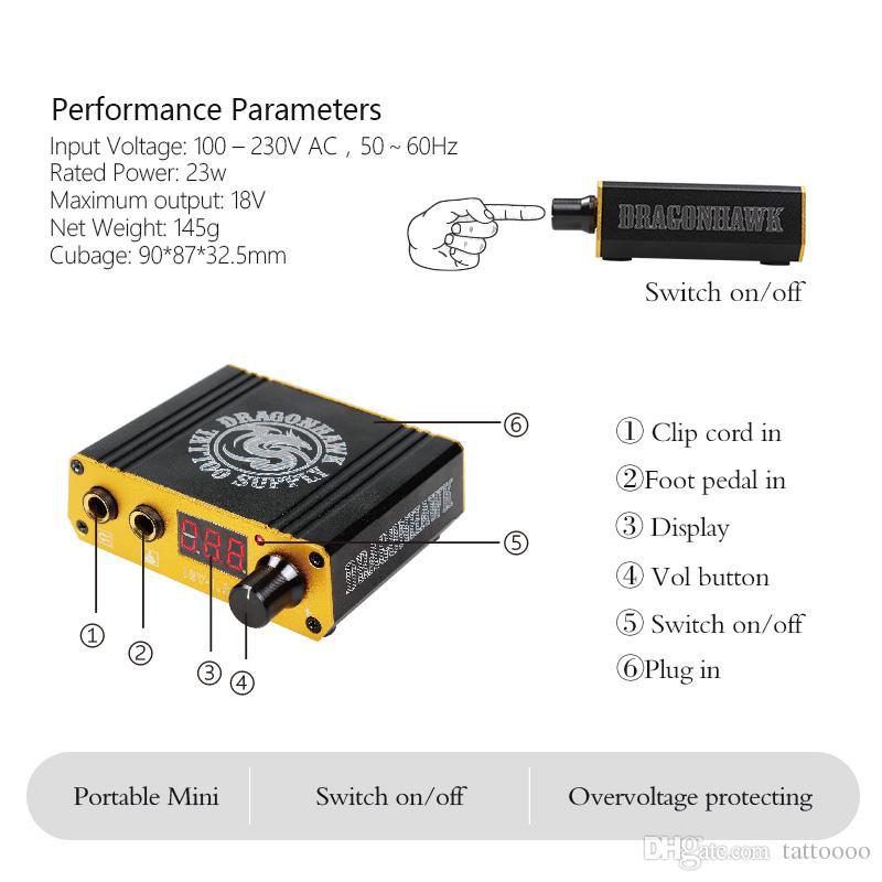 لوازم الوشم الجديدة مصغرة LCD آلة الوشم الرقمي امدادات الطاقة ل كيت P077