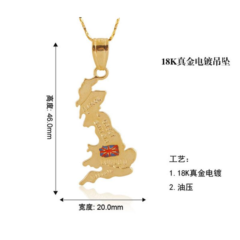 Countries Map Theme Pendant the United Kingdom England Britain 18K Real Gold Plated Brass Charms Making Men Women Necklaces Jewelry Findings
