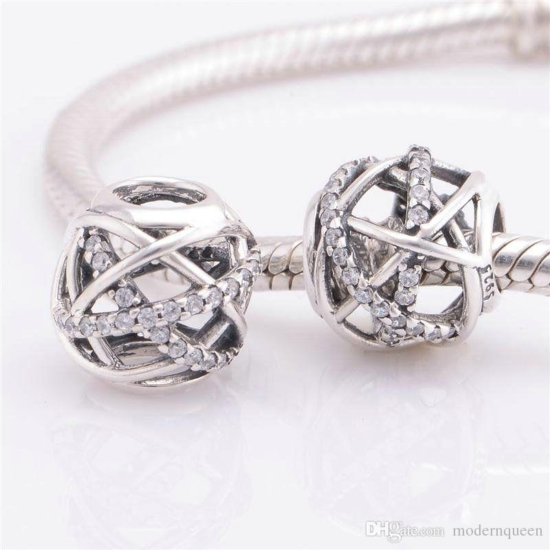 Calidad rhinestone encantos europeos S925 plata esterlina encaja pulsera DIY y collar envío gratis venta caliente LW413