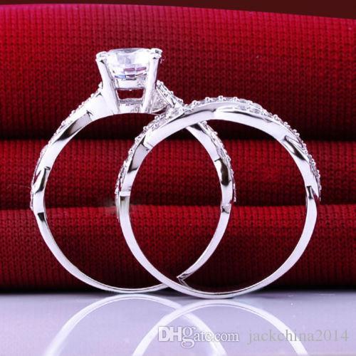 Victoria Wieck Luxury Bijoux chauds de luxe 10kt Gold White Round Cut CZ Diamond Topaz Set de fiançailles de mariage pour femmes taille cadeau 5-11