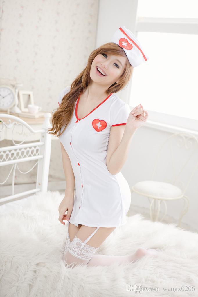 Free shipping White Women Sexy Nurse Uniform Costume White