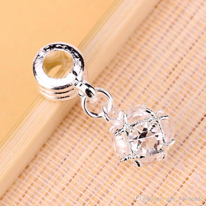 Wholesale DIY Crystal Rhinestone Ball Dangle Bead Fit Charm European Bracelet DIY Jewelry