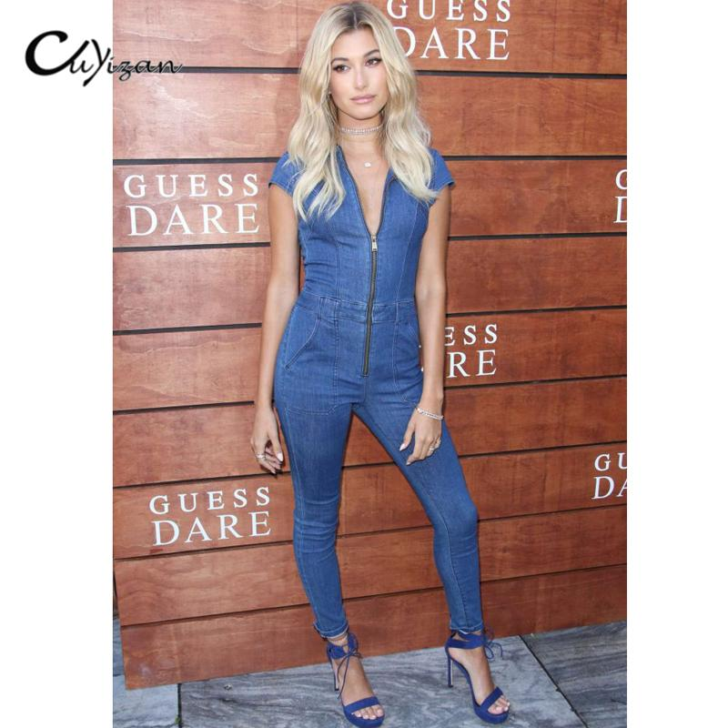 ef8f84317439 2019 Wholesale CUYIZAN 2017 Summer Women Jeans Jumpsuits European Style Women  Denim Jumpsuit Ladies Sexy Zip Overalls Rompers Pants Bodysuits From Oott