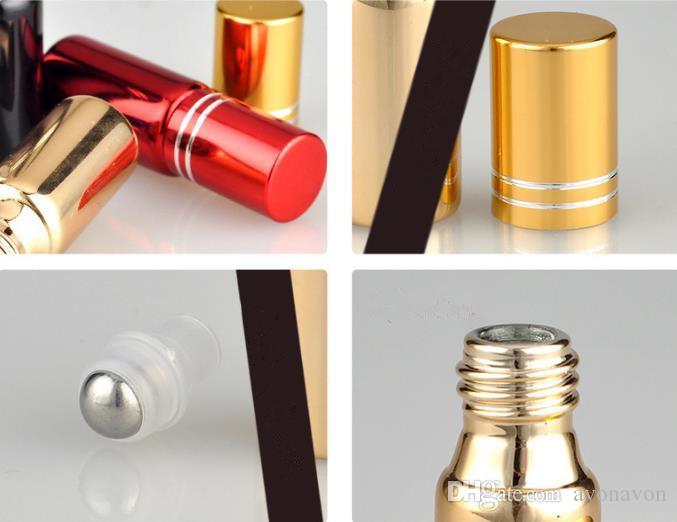 2017 5ml Empty UV glass roll bottle essential oil bottle 5cc sample glass vials with roller ball Spray perfume roll-on glass bottles b705