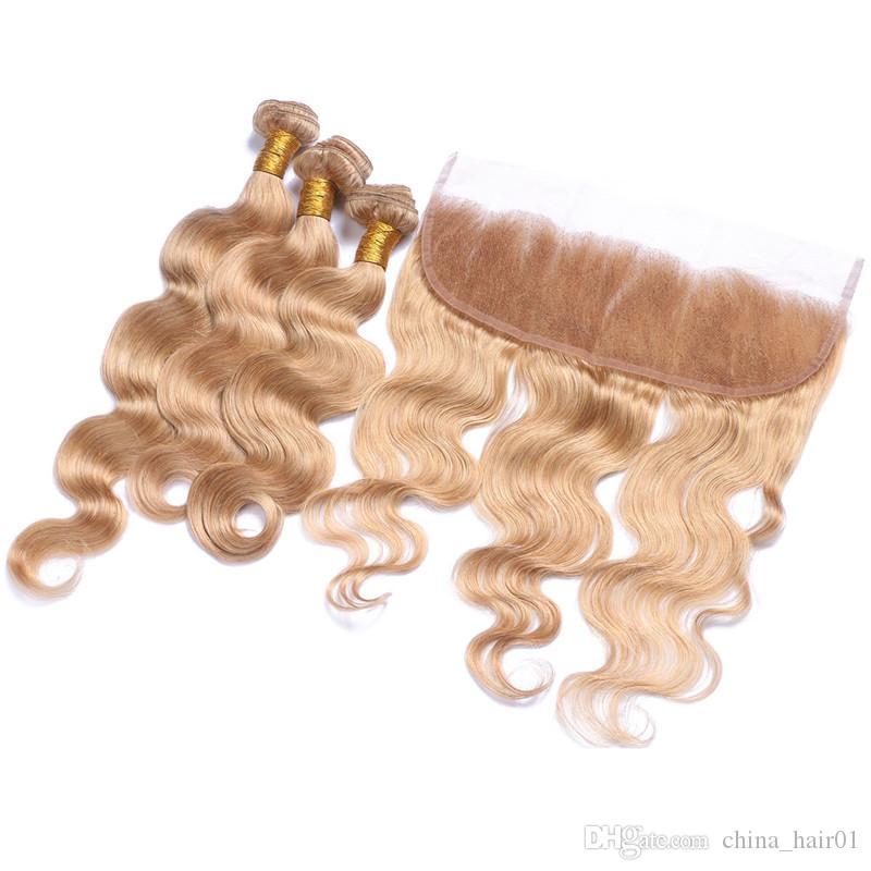 # 27 Honey Blonde Малазийские переплетений человеческих волос с Кружева Фронтальная Закрытие тела волна Клубничный Блондинка 3Bundles с 13x4 шнурка фронтального
