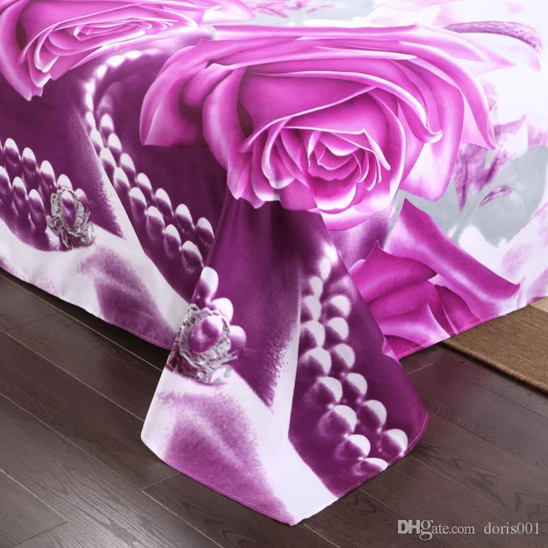 Wholesale Luxury 3d oil painting cheap cotton bedding set violet red queen size /sets comforter /duvet covers bed sheet bedclothes set