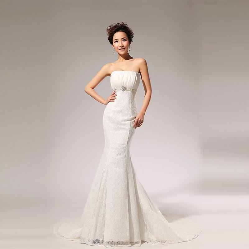 New Arrival Korean Style Bride Beach Wedding Dress Strapless Mermaid Lace With Bling Diamond Princess Sheer Dresses Trailer