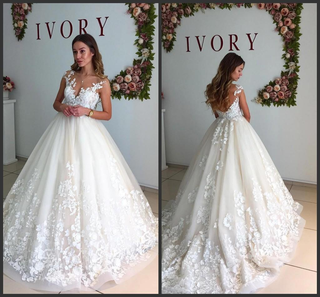 Discount 2018 New Ivory Lace Wedding Dresses 2017 Sleeveless Off The ...