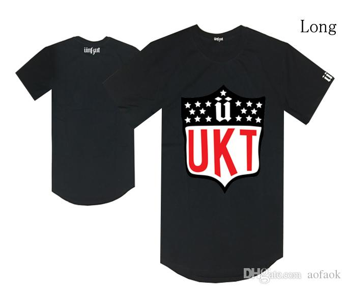 Long style unkut U logo t shirt hiphop skateboard tee shirts male fashion cotton hot sale clothes summer