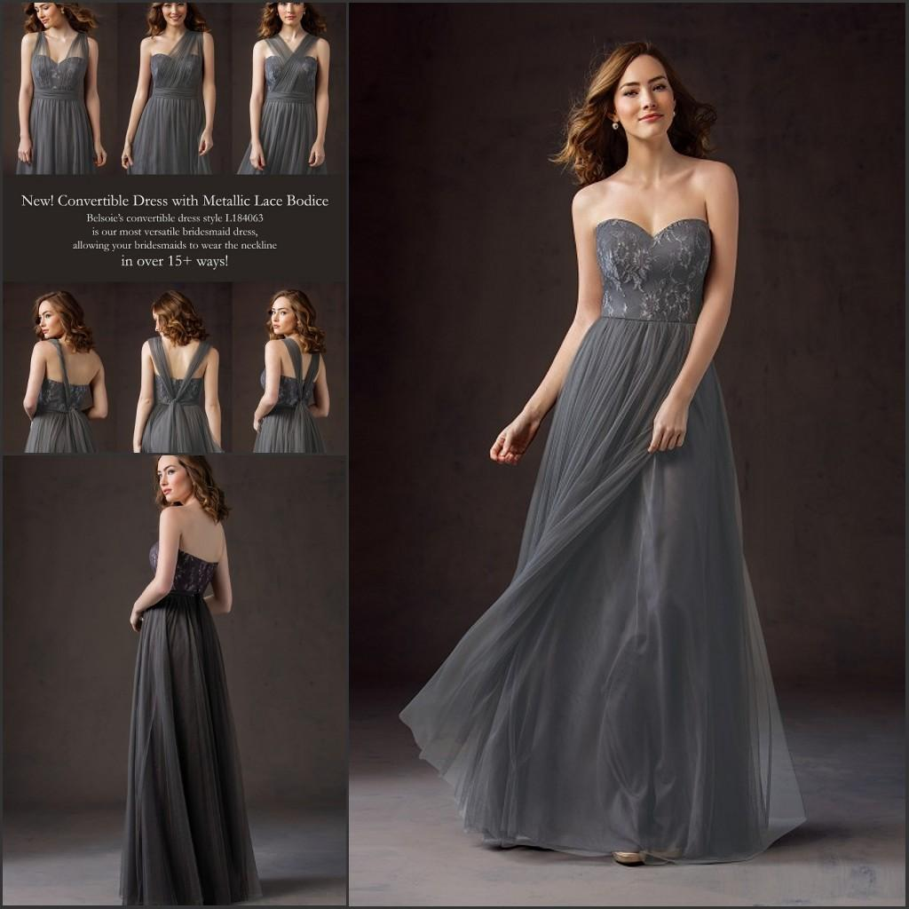 Grey long lace bridesmaid dresses 2016 convertible neck sweetheart see larger image ombrellifo Images