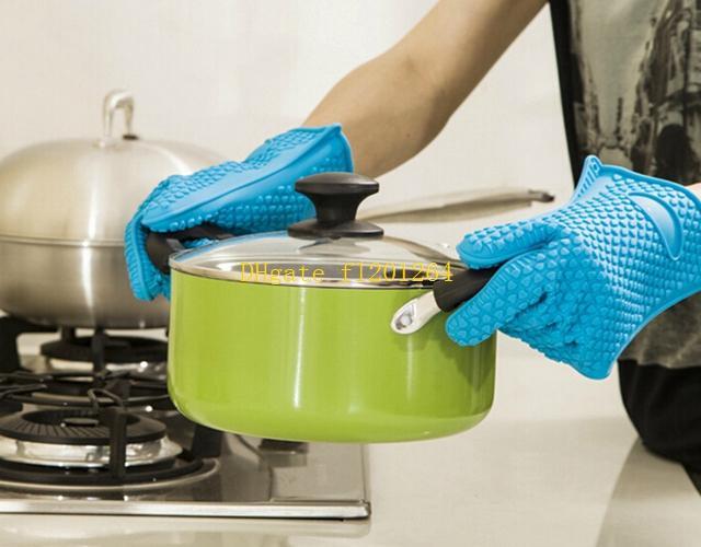 / Trasporto libero all'ingrosso resistente al calore guanto in silicone cottura cottura barbecue forno pot supporto mitt cucina