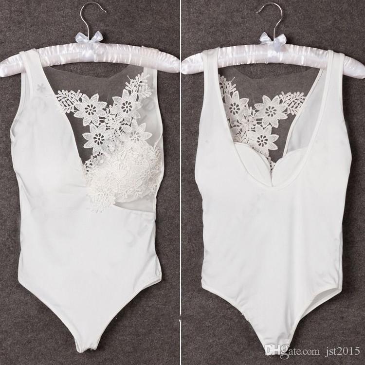 Toptan-Bayan Seksi Bodysuit Bra Tığ Örgü Sheer Dantel Kolsuz Bluz Tops