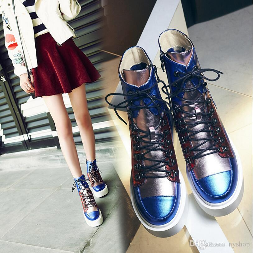 2016 autumn winter genuine leather shoes platform fashion blue vintage lace up female ankle boots flat heel martin boots women's riding boot