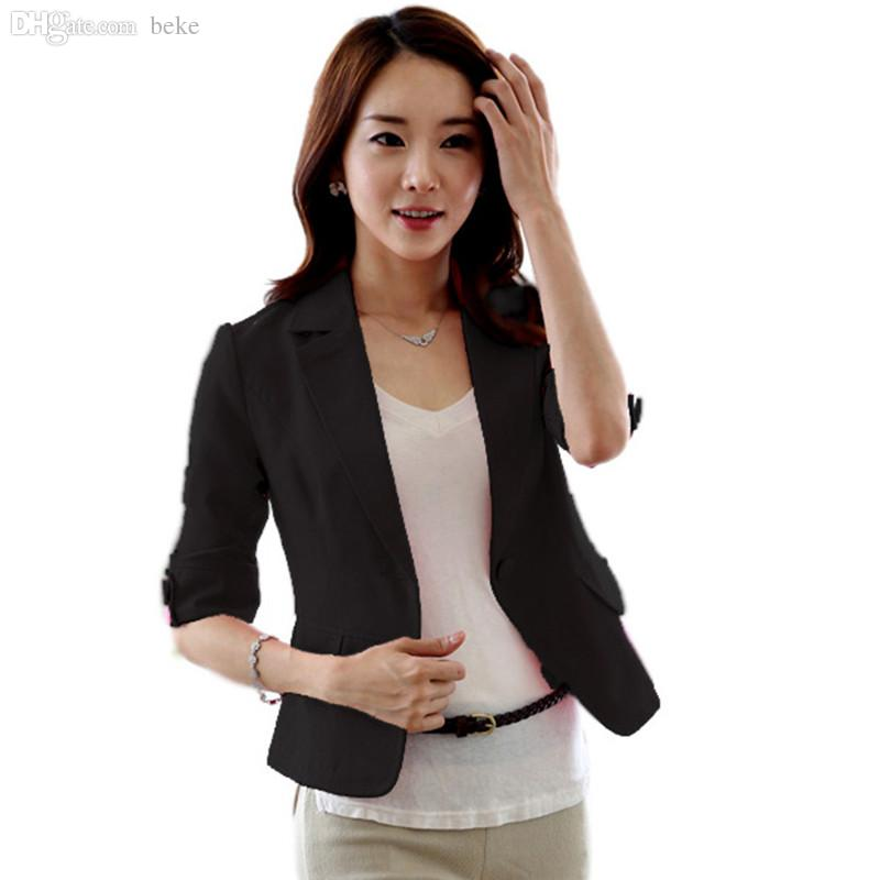 Wholesale Women Girl Casual Short Coat 3/4 Sleeve One Button ...