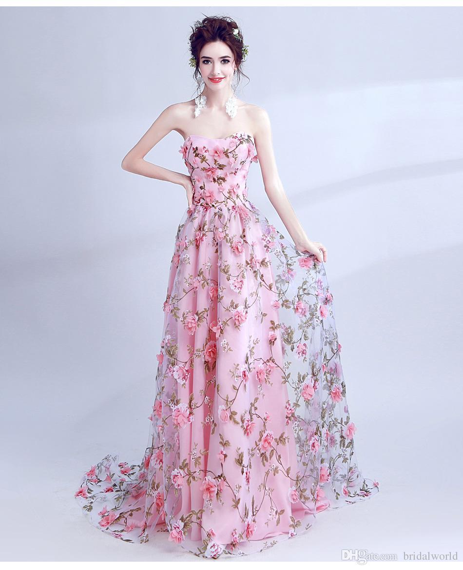 Andar ao seu lado rosa flores vestidos de baile 2017 longo strapless namorada vestido de formatura longo vestido de festa de halloween