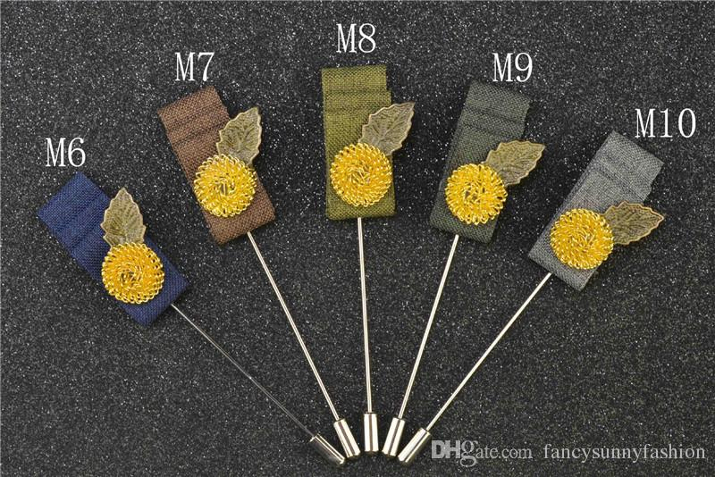 price cheap luxury flower brooch lapel pins handmade boutonniere stick with gold-plated ball and bronze leaf and fabric for gentleman suit