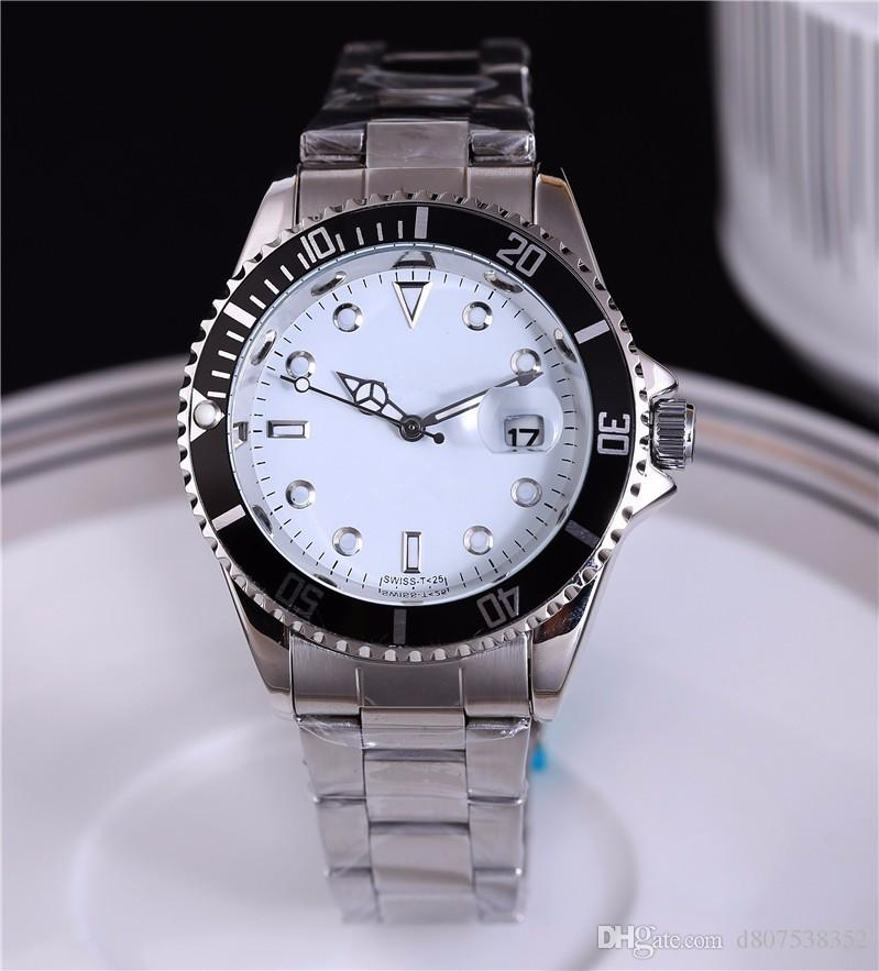 Relogio masculino 40MM relojes para hombre de moda Negro Dial Con Calendario Bracklet Broche plegable Maestro Hombre Relojes masculinos