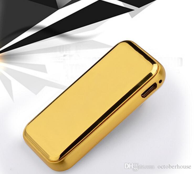 Nuevo Skidding Encendedor Electrónico Arco a prueba de Viento Metal Pulse USB Recargable Sin Llama Encendedor de Cigarrillos Eléctrico Cable Con Caja de Regalo
