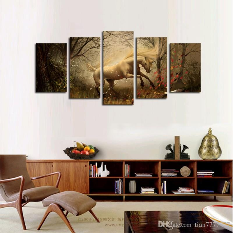 5 Panels Canvas Wall Art Dream Horse Pictures Paint on Canvas Painting for Home Living Room Kitchen Decorative No Frame