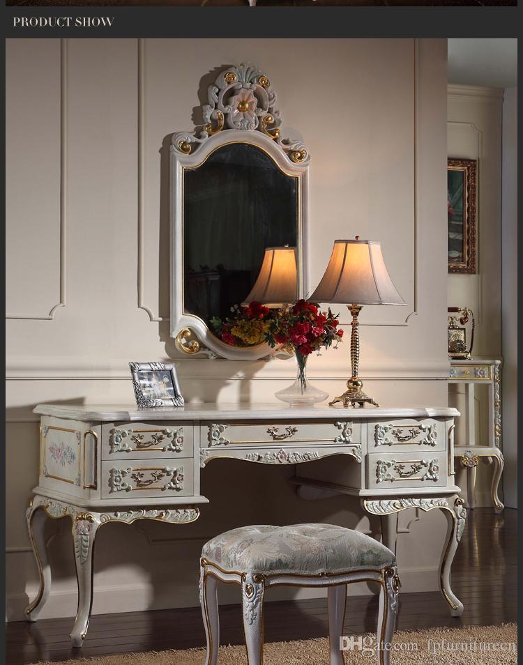 프랑스 지방 가구 - 고급 유럽 왕실 고전 침실 가구 세트 - 수제 단단한 나무 드레싱 테이블
