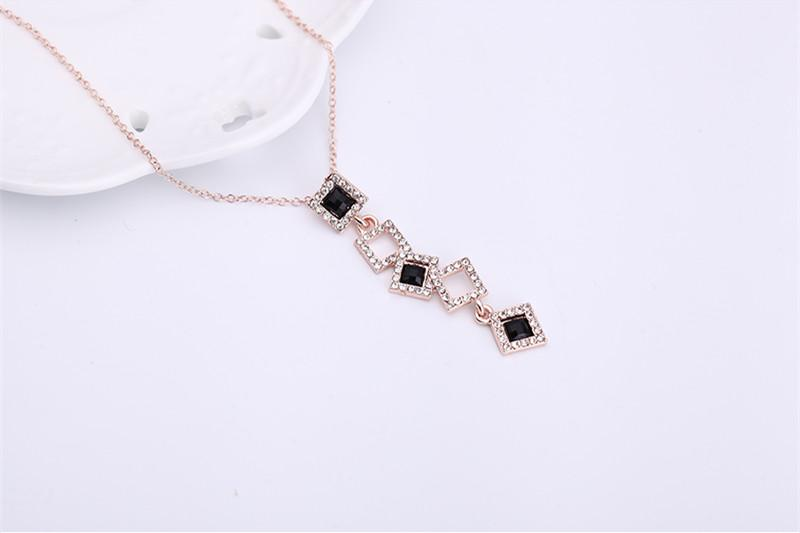Earrings Necklace Jewelry Set Luxury High Grade Exquisite Rhinestone 18K Gold Plated Geometric Squares Party Jewelry 2-Piece Set JS274