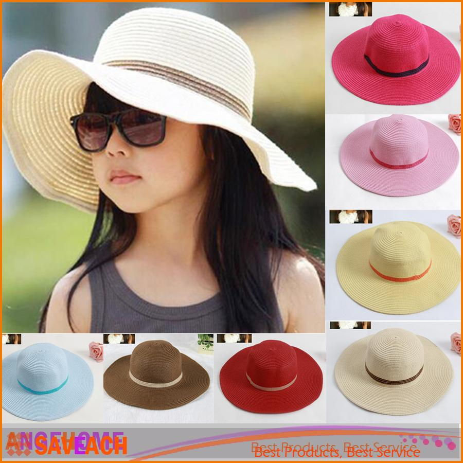2016 Summer Beach Cap Large Brimmed Straw Hat Baby Girl Straw Sun Hats  Sunhats For Kids Wide Brim Beach Hat UK 2019 From Saveach 51d2f842505