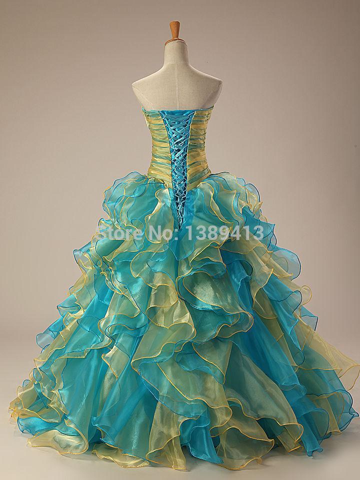 공 가운 아가 연가 Organza Quinceanera 드레스 레이스 2016 우아한 파란색 된 파티 드레스 길이 층 길이