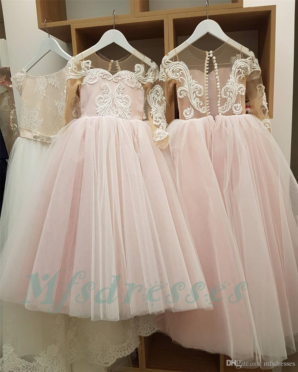 New 2018 Light Pink Princess Long Sleeves Flower Girl Dresses Ball