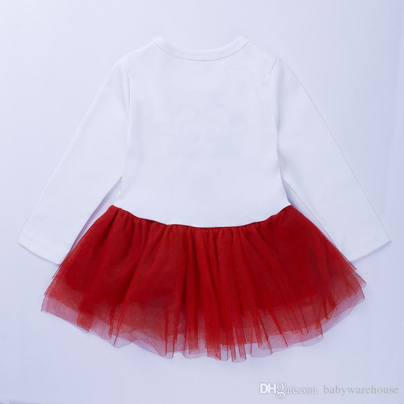El bebé viste de Navidad vestir de los niños muchachas de los sistemas de manga larga vestido de la camiseta + del lunar de las polainas de los trajes de dos piezas de Navidad Trajes Kid