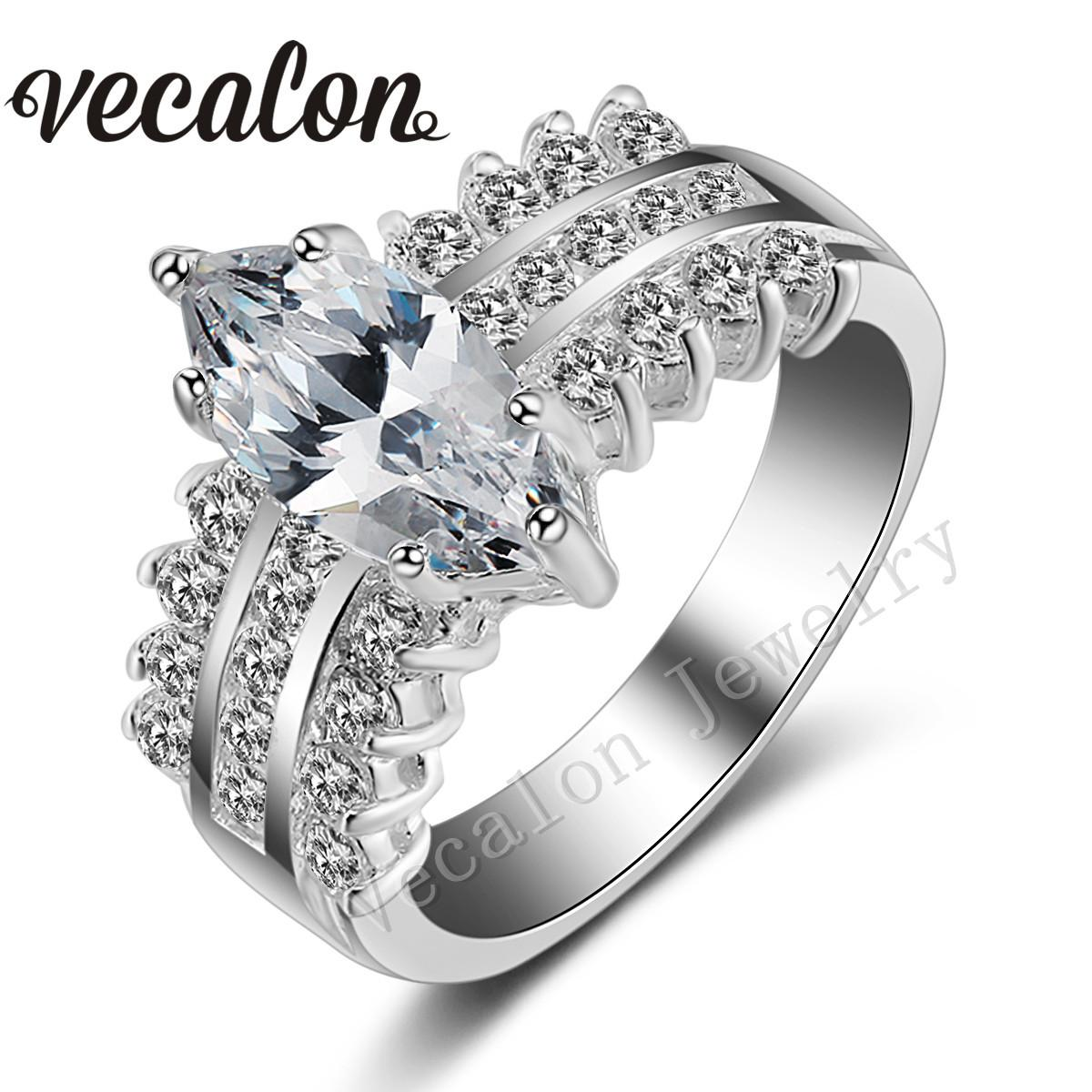 2018 Vecalon 2016 Fashion Brand Handmade Marquise Cut 5ct Cz Simulated Diamond 925 Sterling Silver Engagement Band Wedding Ring For Women From Simplefashion
