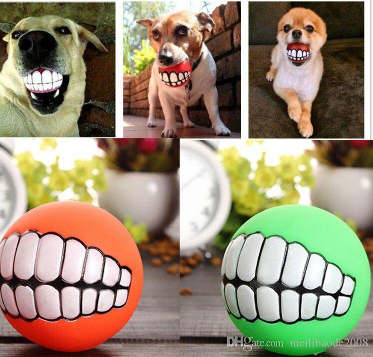 Pet Puppy Dog Funny Ball Teeth Silicon Chew Sound Dogs Play New Funny Pets Dog Puppy Ball Teeth Silicon Toy MYY