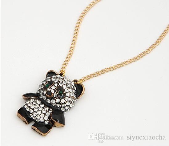 Panda d'oro Neaklace con diamante pieno, materiale in lega, non dissolvenza, confortevole, alta qualità e spedizione gratuita