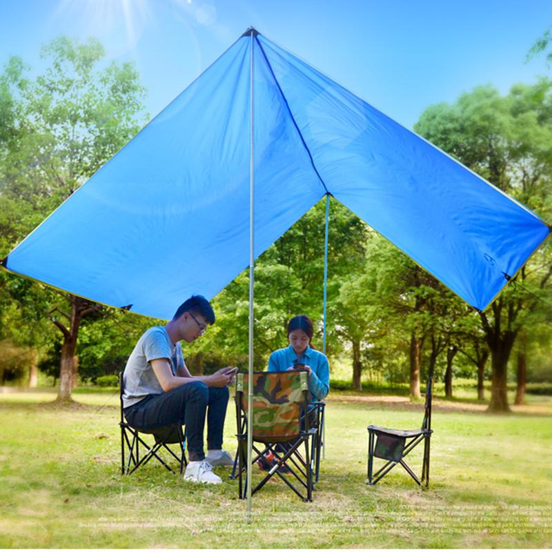 Outdoor Awning Canopy Tent Rain Sun Shelter Tarp 300300cm 4 6 Person Sun Shade Beach Roof Tent Sun Awning Camping Equipment Waterproof Tents Best Tent From