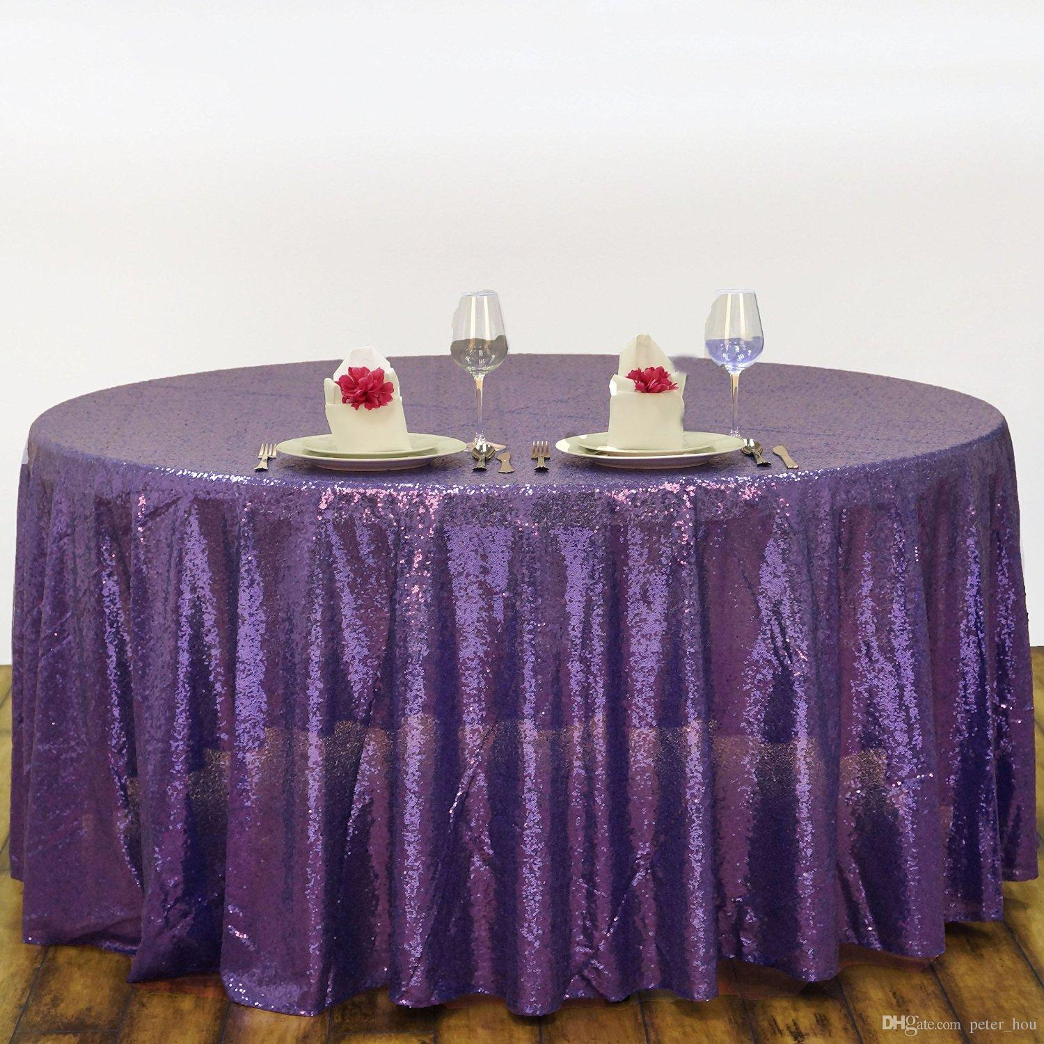 Buy from China 120\'\' Round Purple Sequin Table Cover Wedding Cheap ...