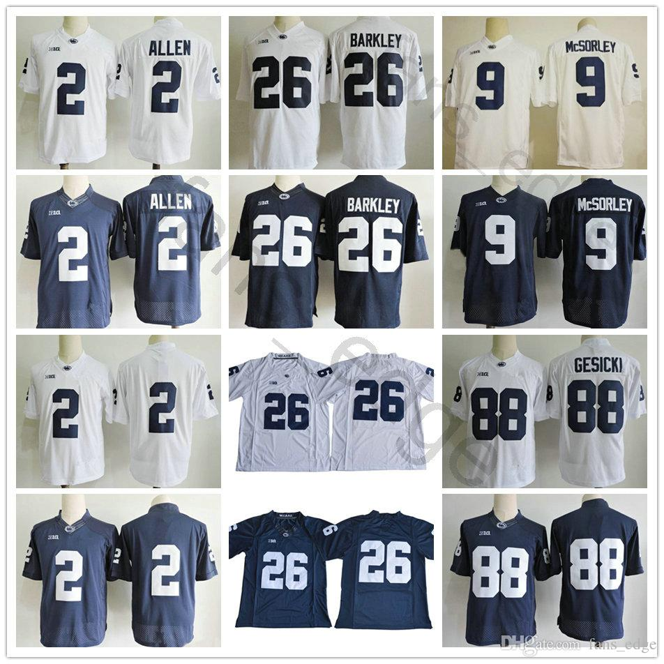 2019 Penn State Nittany Lions College 2 Marcus Allen 9 Trace McSorley 26  Saquon Barkley 88 Mike Gesicki No Name Football Jersey Big Patch From  Fans edge 45502669a
