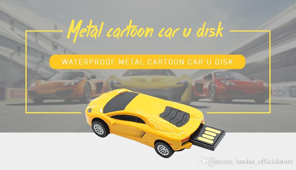 Sports Car USB Flash Drive Mini Cooper Cartoon Pen Drive 32GB 16GB Memory Pendrive Stick Pen Metal USB Flash Drive 8GB