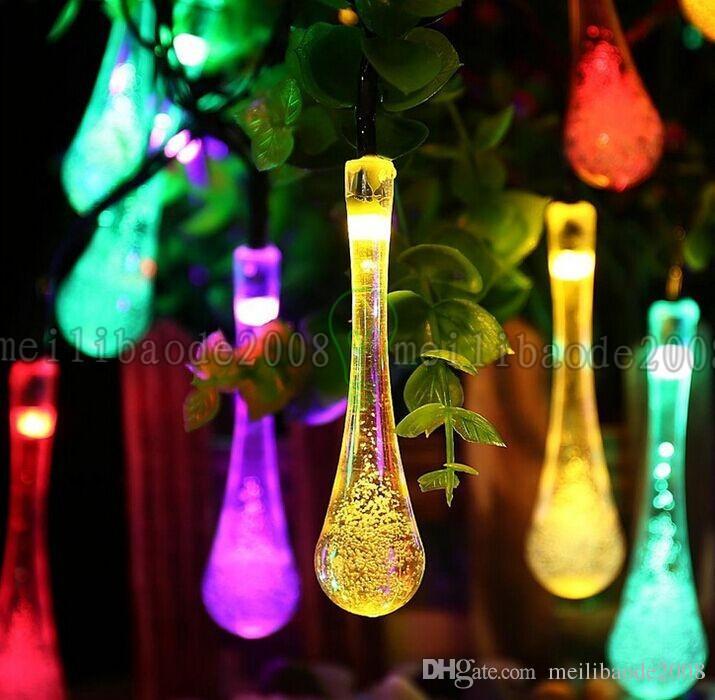 4.8M 20LED lumières de Noël menées extérieures Goutte d'eau imperméable LED guirlandes solaires lumière guirlandes pour l'éclairage extérieur LLFA