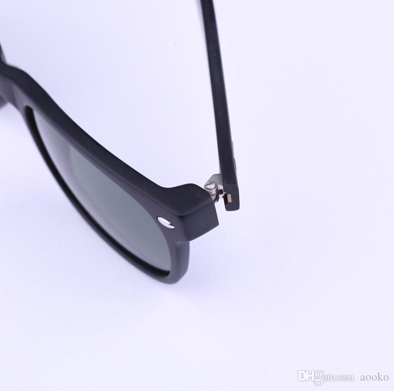 AOOKO Hot Sale New Classical Sun Glasses matte black TORTOISE frame Glass UV protection G15 Green BLUE RED GREEN lens Sunglasses 52mm 55mm