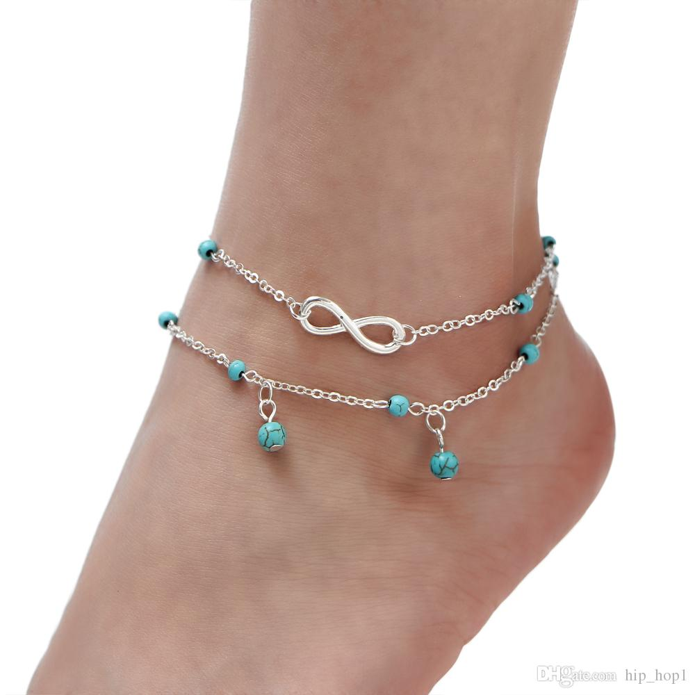 Hot Sale Anklet Women Foot Bracelet Beach Fashon Leg Bracelet Tornozele Indian Anklet Multi-Layer 8 Character Turquoise Foot Chain Infinity
